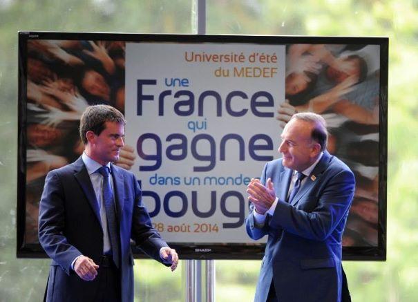 Manuel Valls et Pierre Gattaz lors de l'Université d'été du MEDEF 2014