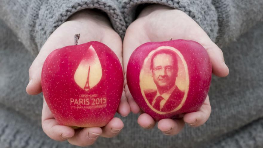 des pommes à l'effigie de Hollande et Fabius pour le COP21