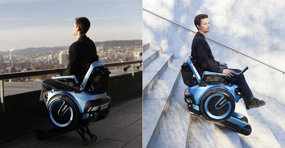 Un fauteuil pour que les personnes à mobilité réduites surmontent les marches d'escalier
