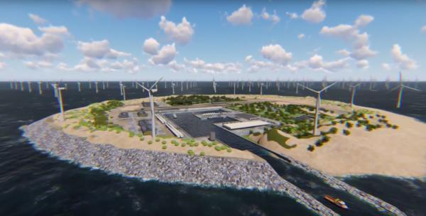 Une ile artificielle pour fournir en énergies renouvalbles l'Europe du nord