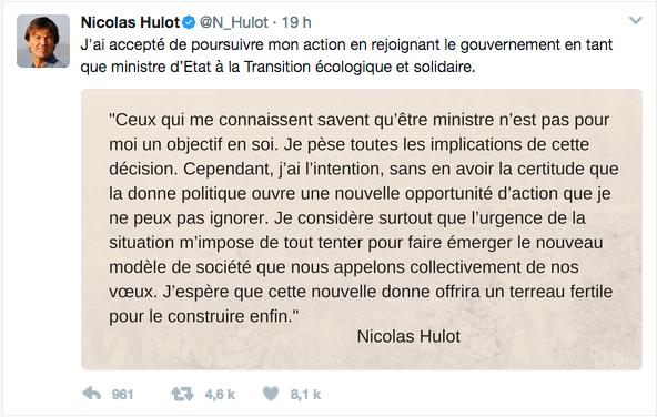 Ministre de la transition écologique et solidaire